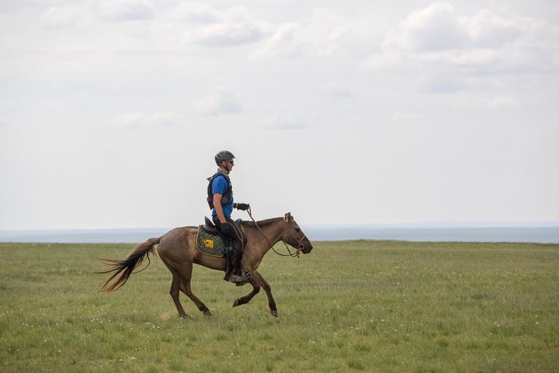Gobi Desert Cup Competitor galloping across the Gobi Desert