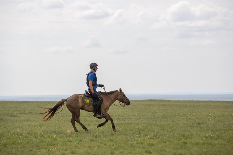 Gobi Desert Cup Competitor galloping across the Gobi Desert